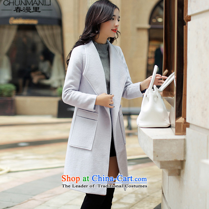 The spring of 2015 for winter diffuse new without collars in long-sleeved long coats gross? Female Light Cyan燤