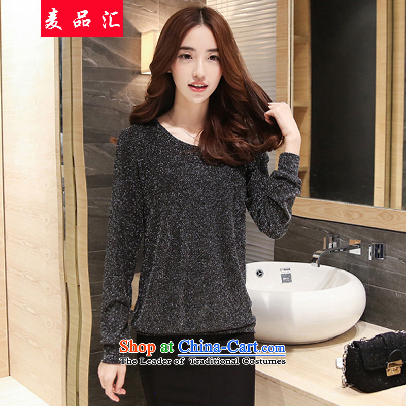 Mr products removals by sinks to xl women forming the Netherlands shirt thick mm Fall/Winter Collections of new long-sleeved plus sister loose video thick wool thin T-shirt, black 9022 Autumn3XL recommendations 170-195 catty