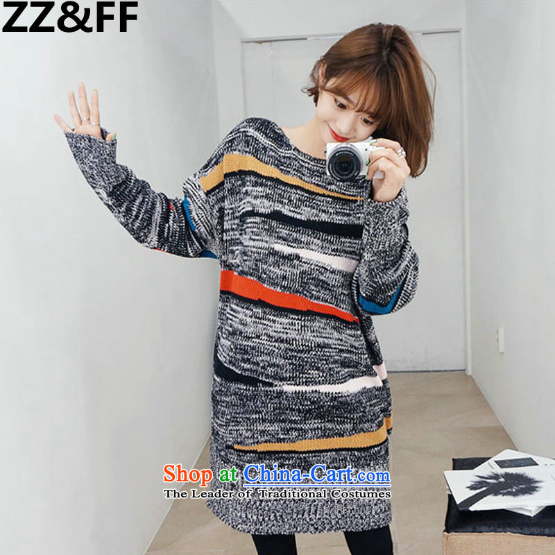 2015 Autumn and winter Zz_ff new extra-thick MM200 catty, long Thick coated knit sweater flower gray聽XXXXXL shirt