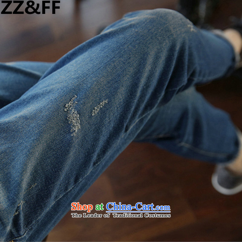 2015 Autumn and winter Zz_ff new to xl thick mm200 catty Stretch video thin jeans 6138, money-water blue XXXXXL