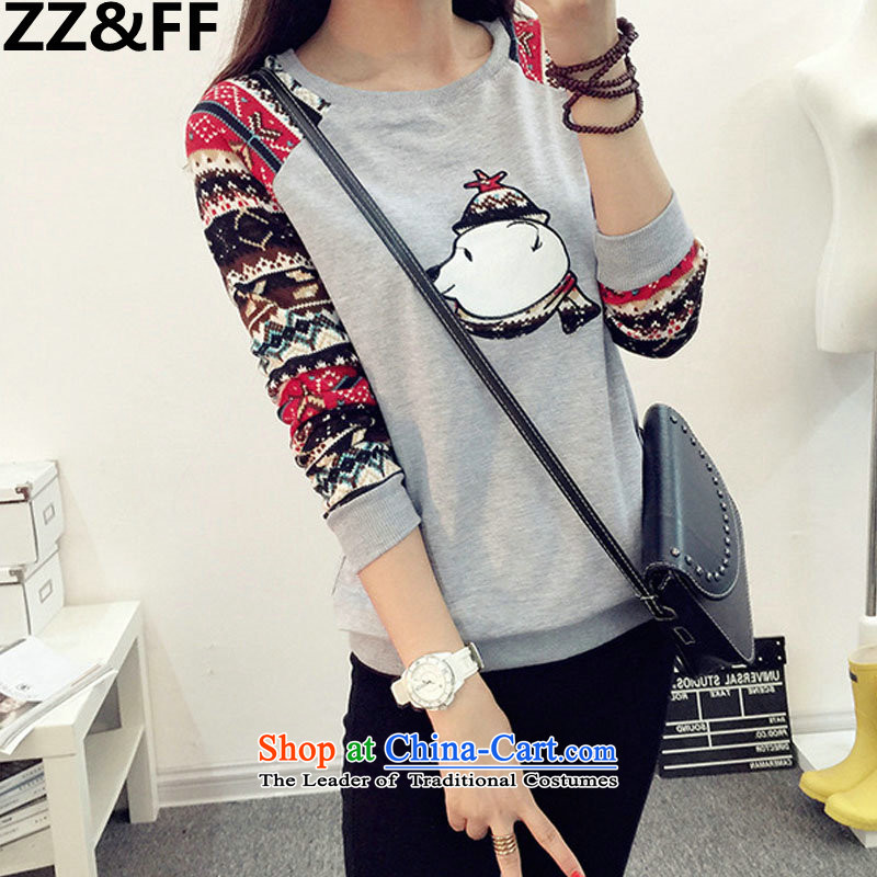 2015 to increase Zz_ff code 200 catties female autumn T-shirts thick mm loose wild t-shirt, forming the Netherlands 5238聽XXXXXL Gray
