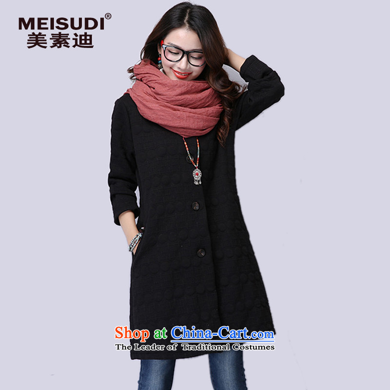 2015 Autumn and Winter Korea MEISUDI version of large numbers of ladies literary and artistic temperament clip cotton fan cardigan in long loose video thin wild jacket Black燲L