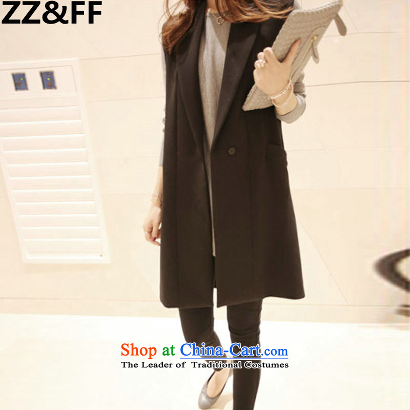 Zz&ff 2015 autumn and winter to increase women's code thick MM Coated Knit shirt + larger jacket, a two-piece black XXXXL 5212