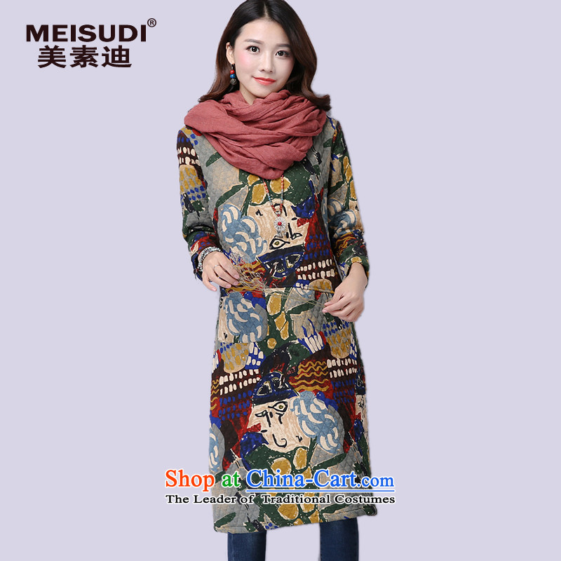 2015 Autumn and Winter Korea MEISUDI version of large numbers of female clamp cotton waffle stamp in literary and artistic temperament long stitching loose video thin dresses green M