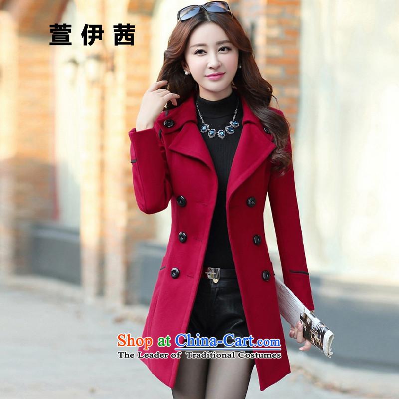 Xuan of sin in autumn and winter long coats Korean gross? graphics thin hair so Sau San Coat�96 female牋XXXL wine red