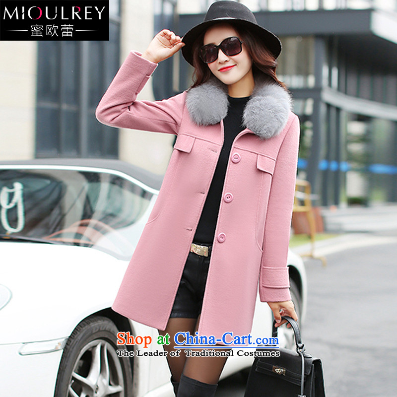 Alfa Romeo Lei 2015 winter new cap can be shirked for Korean Gross Gross? jacket single row detained for long jacket, Sau San a wool coat 609 pink S