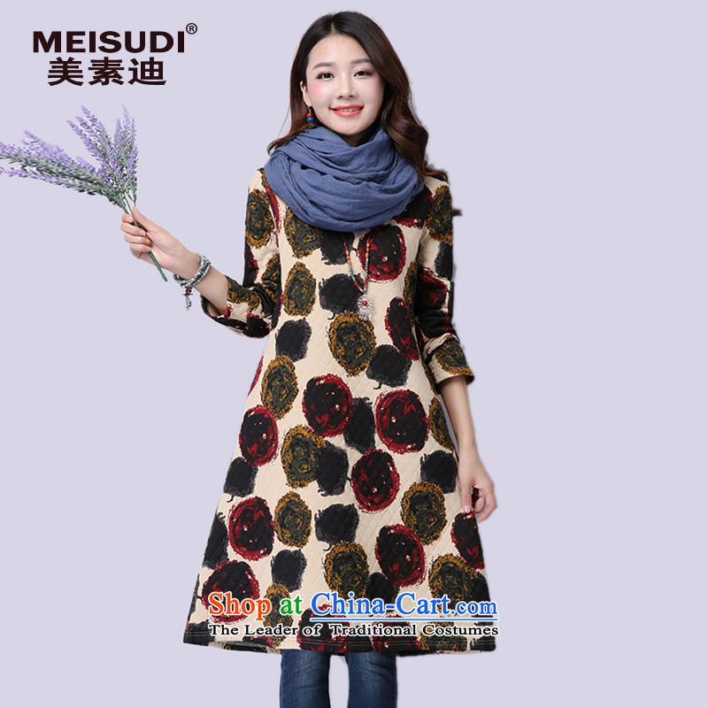 2015 Autumn and Winter Korea MEISUDI version of large numbers of ladies in literary and artistic van suit long cotton waffle relaxd forming the folder video thin long-sleeved dresses apricot XL