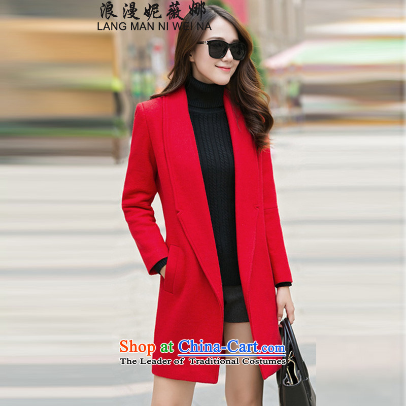 Ms Audrey EU's 2015 romantic Connie autumn and winter coats gross new? Korean video in thin long Sau San, a female Red Jacket M