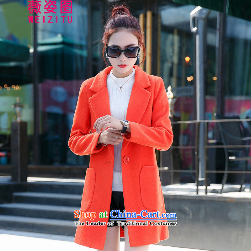 Vichy figure in the new winter long hair a jacket female child Sau San video thin metal coats�15 Winter Korean new women's wild Orange燬