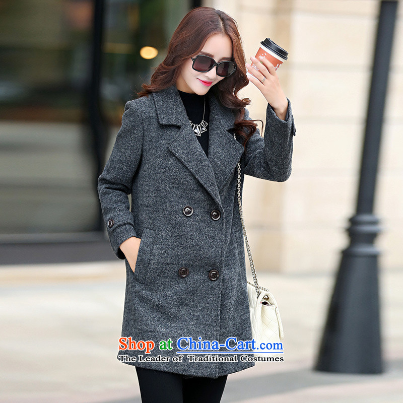 The Taliban Slobodan2015 Fall/Winter Collections gross? Western business suits women jacket double row is long large long-sleeved black and gray overcoat so grossXL