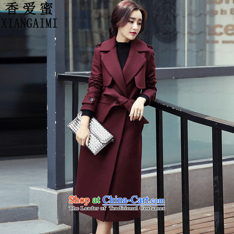 The Champs Elysees Honey Love�  2015 autumn and winter new OL video thin Korean long coats gross? a female double-wind jacket� 882爓ine red燤