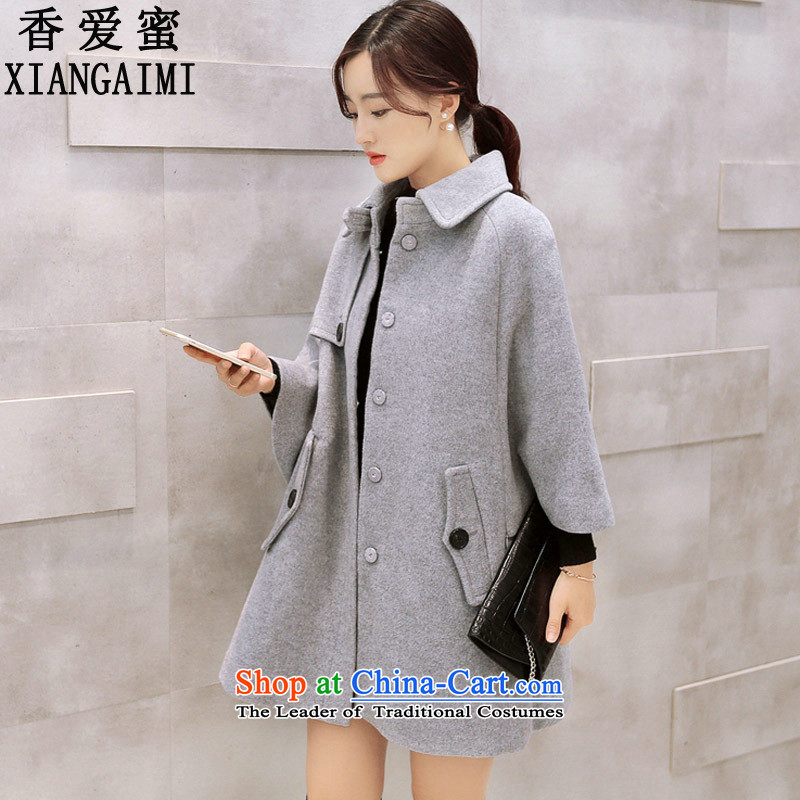 The Champs Elysees Honey Love  2015 autumn and winter new Korean version of loose cloak? Why women jacket gross sub wind jacket 708grayM