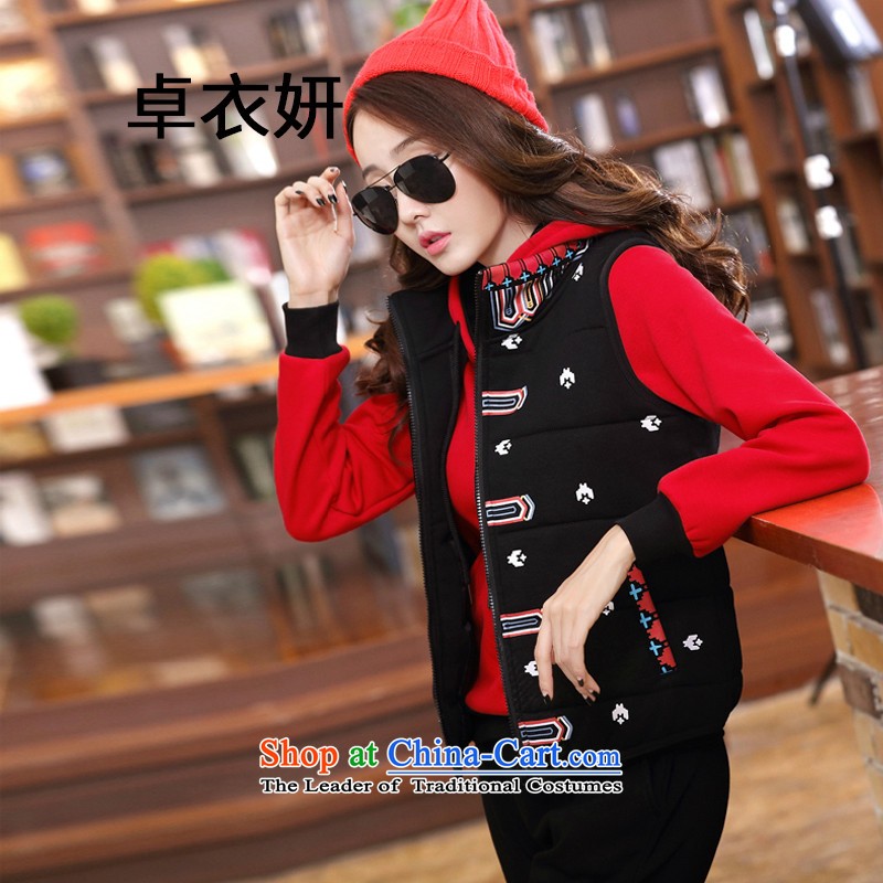 1503#2015 autumn and winter new products in women's long-sleeve sweater three piece of the sportswear big red M
