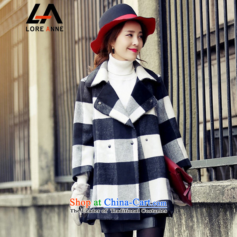 La4 for autumn and winter new stylish black-and-white, gross?   for wild jacket coat female�24 Video thin爌icture color燣