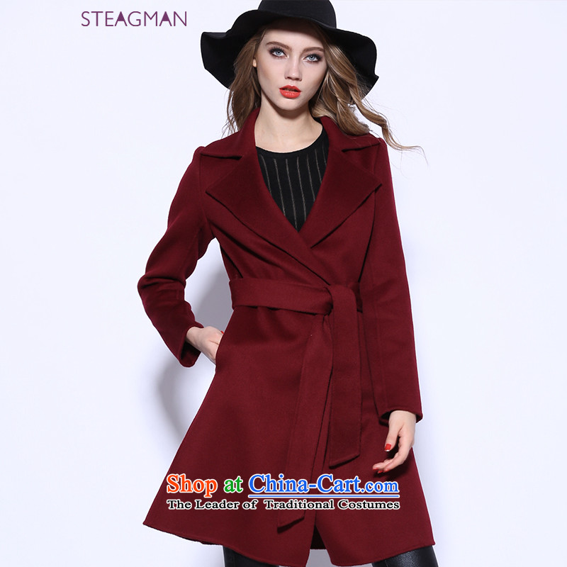 Staegman2015 autumn and winter new plain manual two-sided cashmere cloak? female gross in long wool coat female 80030? wine red燣