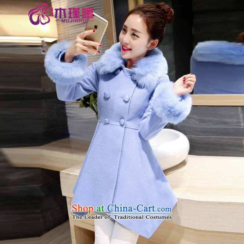 Wooden Geun-hye 2015 autumn and winter in new women's long Sau San double-thin graphics with a coat of Korean version of this sleek hair? LAKE 581 Blue M_160_84a_ Coats