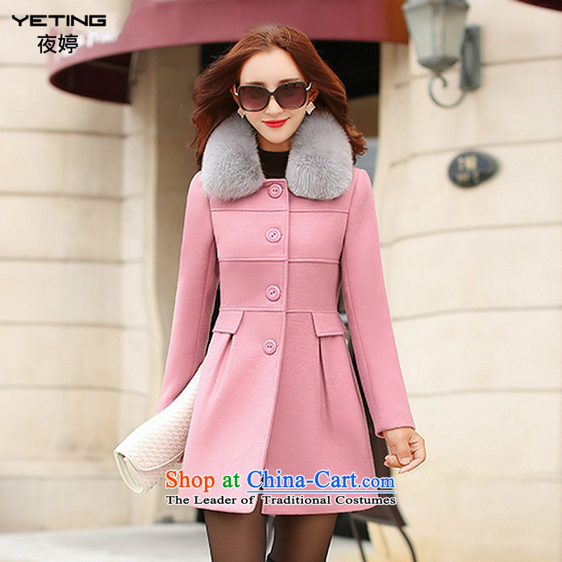 Night-ting 2015 winter clothing new products with warm gross a wool coat 1568 pink XXL