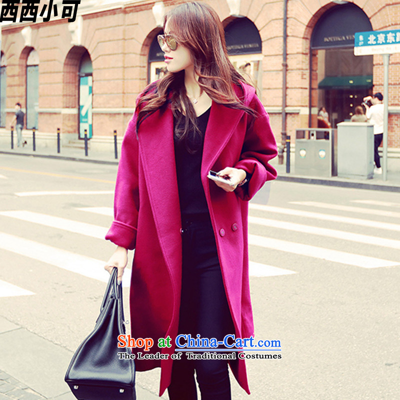West small winter 2015 new large graphics thin coat in long cap coats female dy00009 gross? mauve M