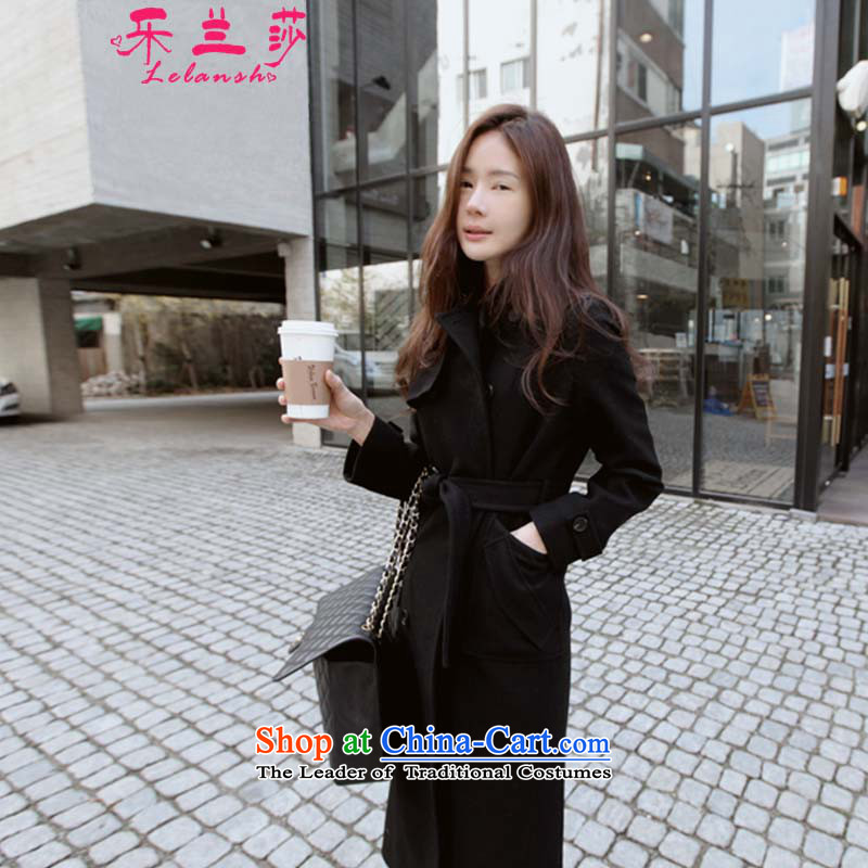 Alam Shah America聽2015 autumn and winter new gross? Long butted windbreaker double-thick wool a wool coat female Korean Black聽XL