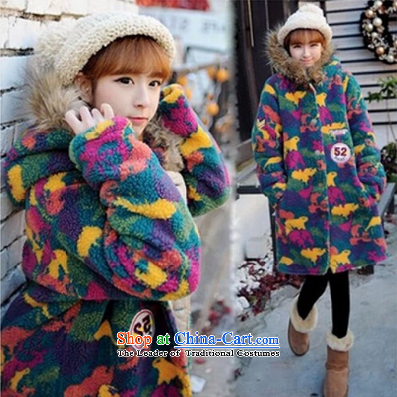 2015 Autumn winter new Korean version of large numbers of ladies thick MM loose, Hin thin, thick cardigan thick sister in long thick camouflage pile cap sweater XXXL map color jacket