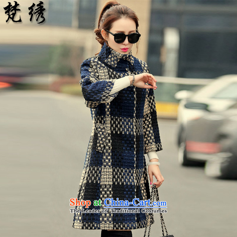 Van Gogh embroidered�15 winter new European sites in thick long hair? coats female latticed�08燘lue燲XXL
