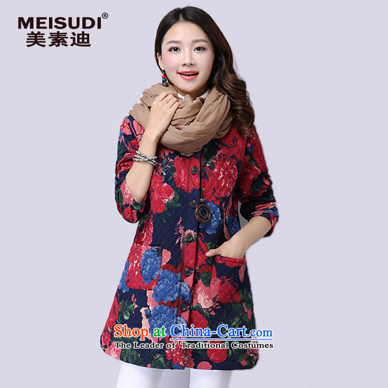 2015 Autumn and Winter Korea MEISUDI version of large numbers of ethnic women suit in thick long loose video thin pocket arts temperament jacket safflower XXL