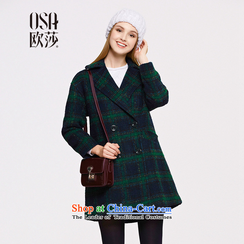 The OSA EURO 2015 Winter New Windsor, double-suits for gross Ms. Jacket coat SD514002? Blue Green Grid燬