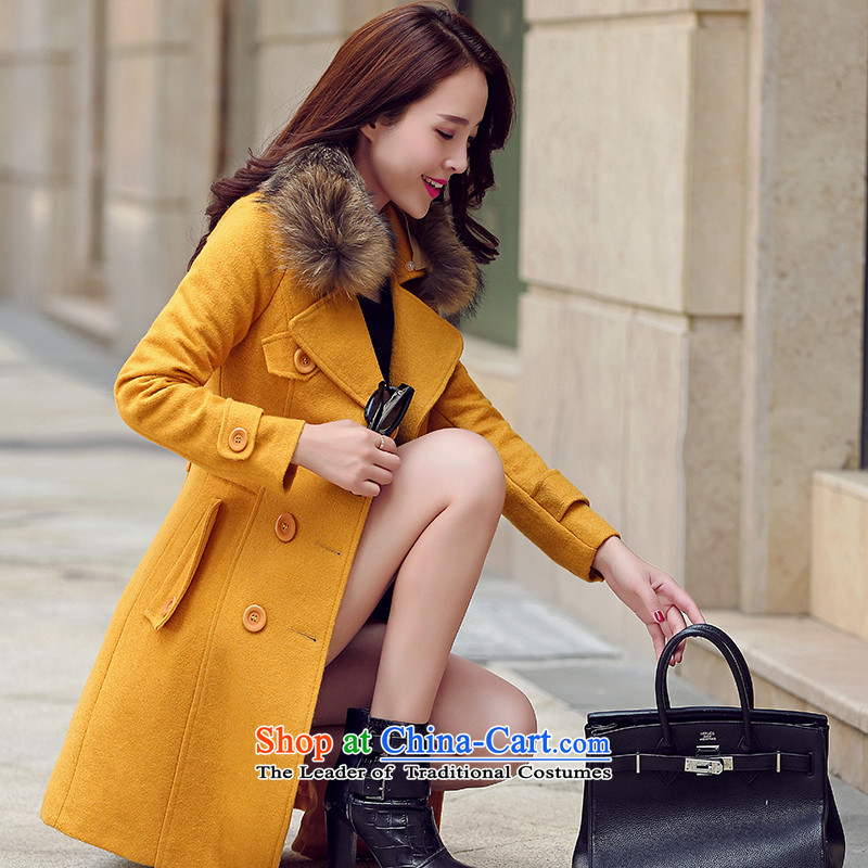 The paradise for winter 2015 new product version won stylish nagymaros gross for Sau San?? yellow jacket coat gross聽S