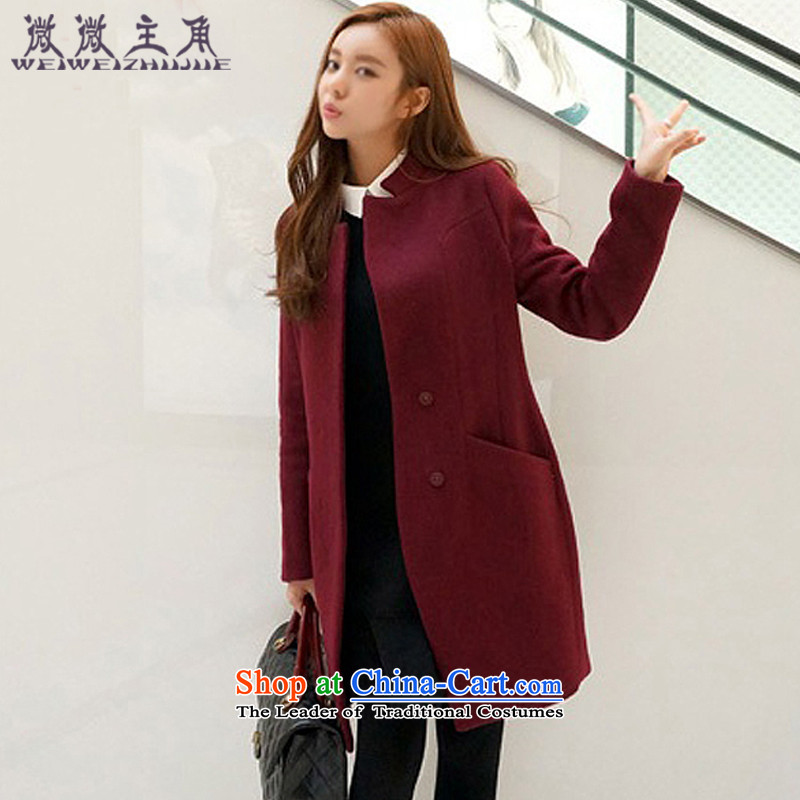 The caddy protagonists autumn and winter 2015 new larger version in Korea Sau San long wool coat jacket female 802? wine red?S