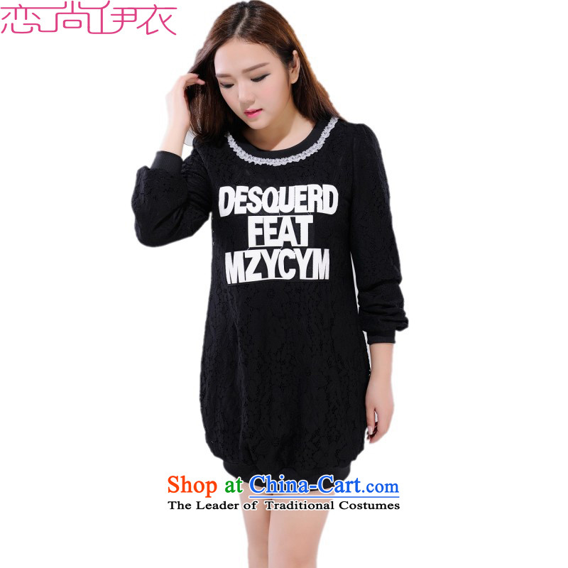 The new 2015 winter thick wool sweater plus T-shirts to xl lace cheongsams package and forming the Netherlands thick Mei letters T-shirt with round collar stamp long-sleeved black�L燼pproximately 135-150 catty