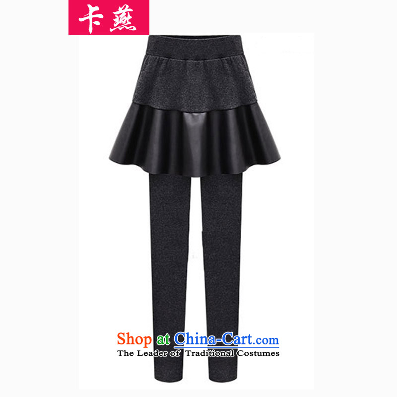 Card Code women's King Yin 200 catties thick mm autumn and winter video thin trousers thick sister to intensify the stitching false two forming the Sau San Skort 390�L Carbon