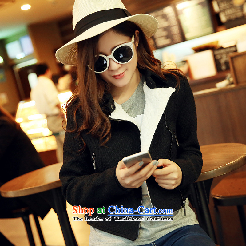 Park woke up to 2015 winter coats Korean new leisure warm jacket, a short black?S