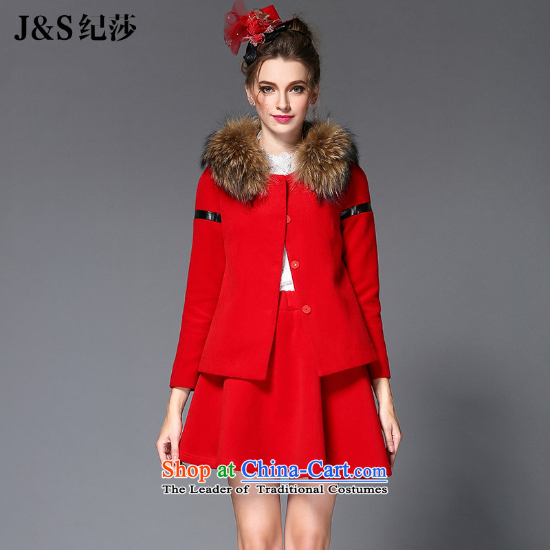 Elizabeth discipline autumn and winter 2015 mm thick with Europe and the high end of the larger women's gross stitching leather jacket? can be removed from the gross for a swing temperament gross skirt Kit?Q221- red3XL New Products