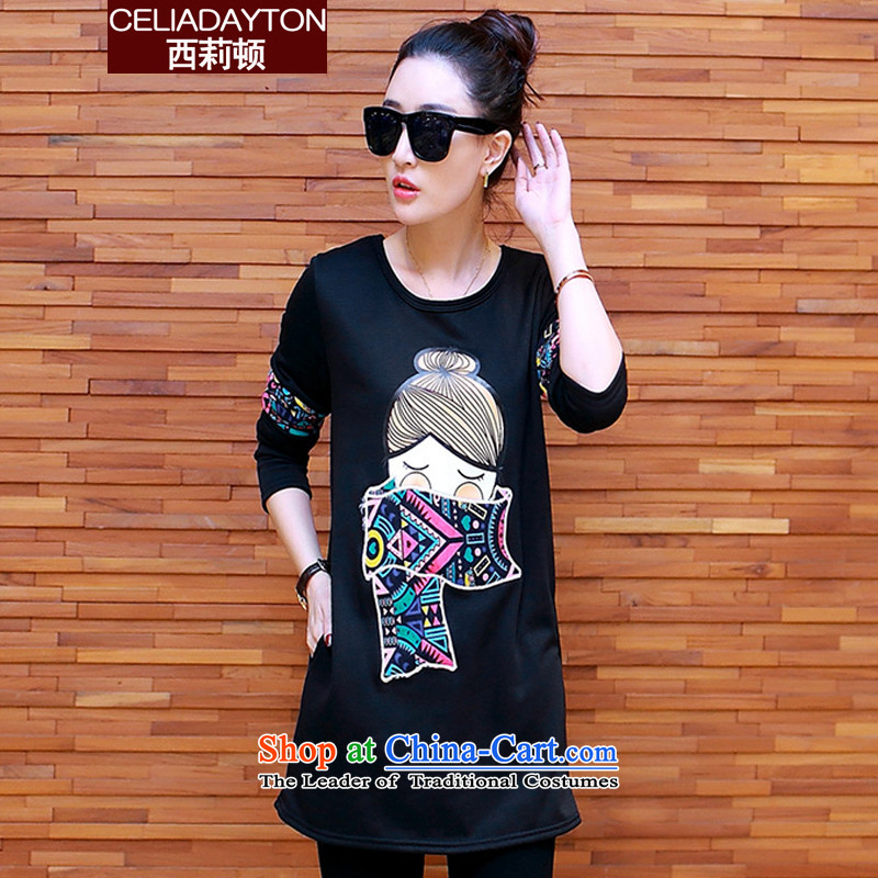 Szili Clinton to increase women's code 2015 Fall_Winter Collections new thick mm sister stylish graphics thin national wind long-sleeved T-shirt, long-sleeved clothes, forming the lint-free thick black XXXXL