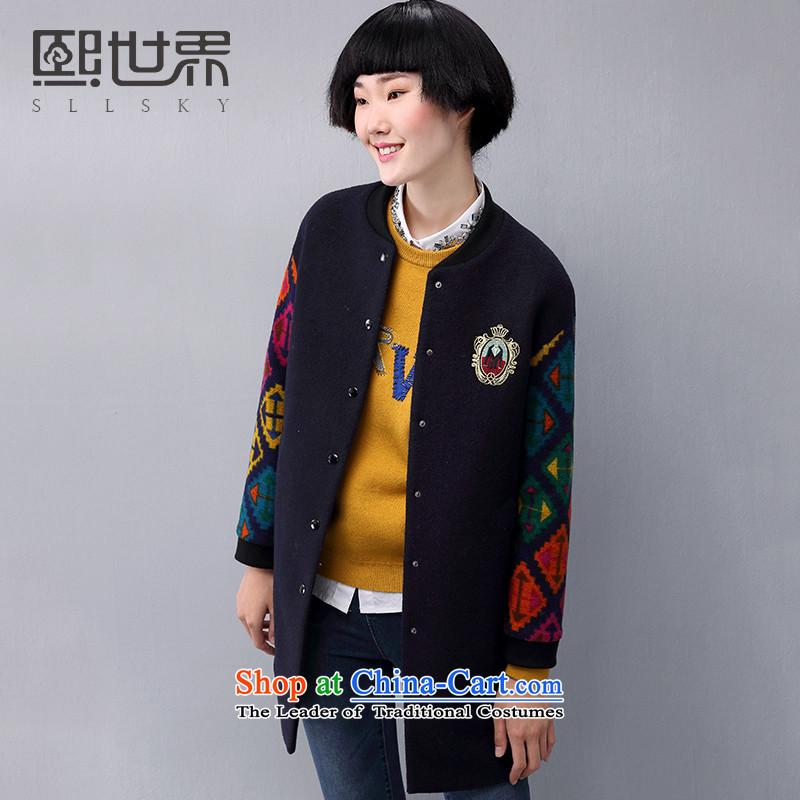 Hee-World 2015 winter clothing new Korean version of the long hair? jacket female han bum woolen coat 184LG303 DEEP BLUE燬