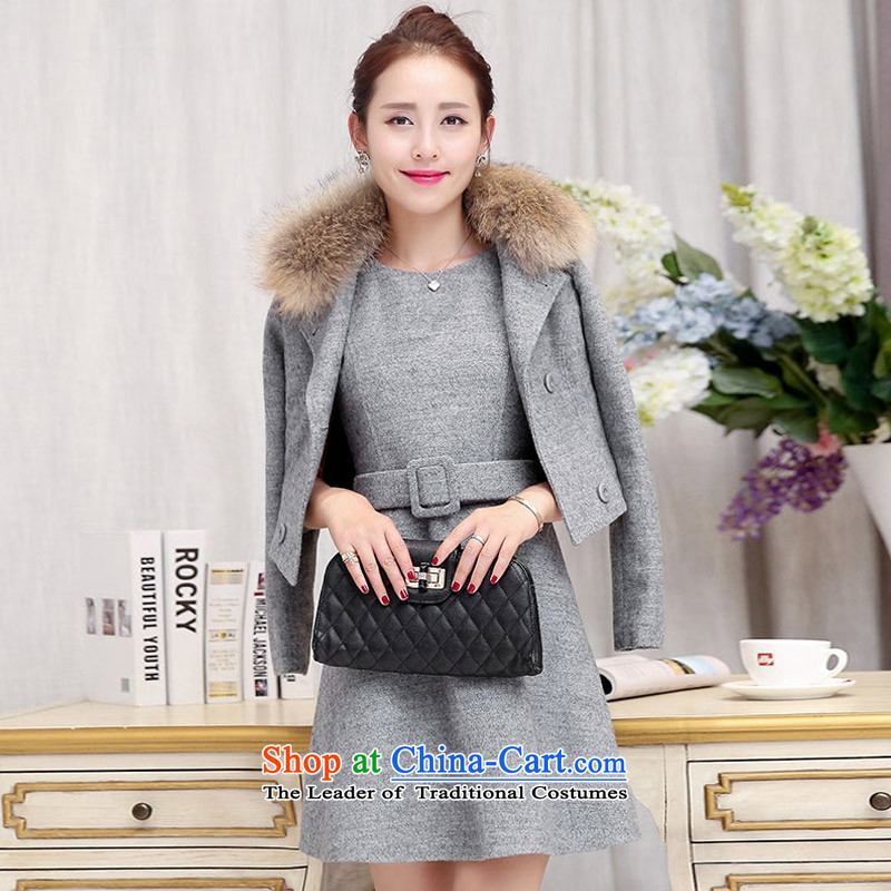 Recalling that the autumn and winter poems angel new Korean short hair?_ small jacket to obtain 993 Nagymaros EL GRAY S
