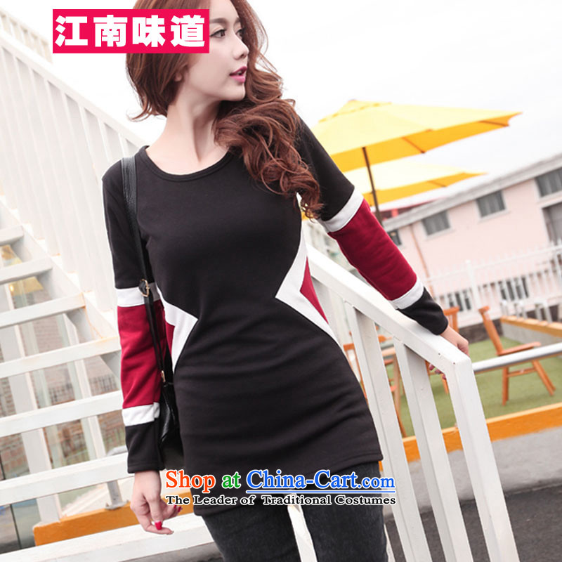 The Gangnam taste聽large autumn and winter 2015 women to increase leisure wear shirts thick MM200 catty knocked color plus T-shirt-thick female black skirt聽3XL recommendations 140-160 characters catty