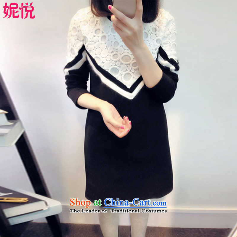 Connie Yue 2015 Autumn replacing the new Korean version of large numbers of ladies in mm thick long long-sleeved video thin lace A Skirt 170.03 _black velvet thick XXXXL_