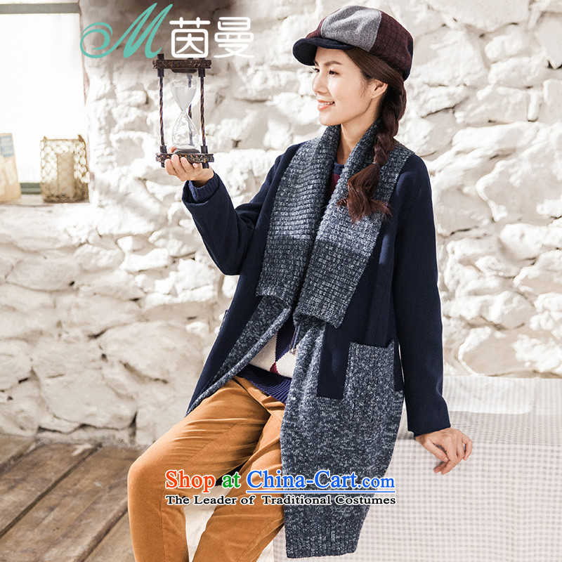 Athena Chu Cayman�15 winter clothing new minimalist design knitwear stitching long jacket coat_? female elected as Deep Blue Sapphire 8543210620燣
