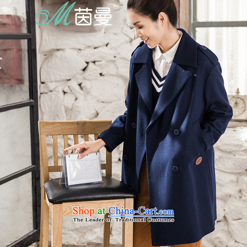 Athena Chu Cayman�15 winter clothing new minimalist pure color, double-long jacket coat_? female elected as Deep Blue Sapphire 8543210172燤