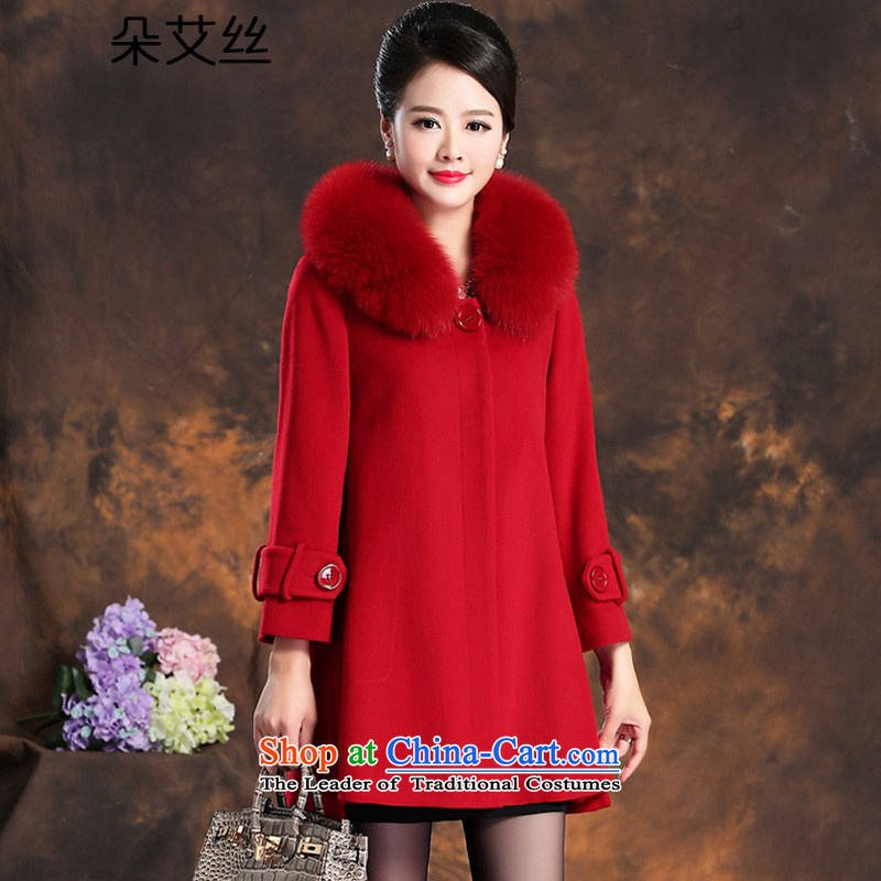 High-end of the population of a true leader cashmere overcoat fox gross girl for winter 2015 New 9 cuff, long hair, Sau San? jacket female red woolen coat L