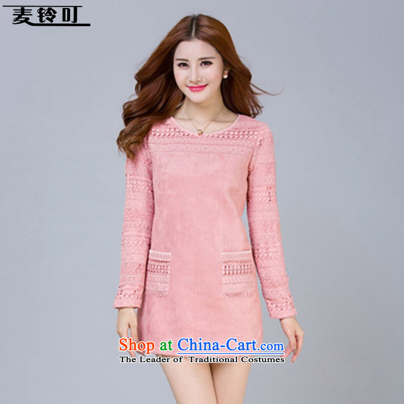 Mr ring bites 2015 autumn and winter new Korean large long-sleeved T-shirt, long lace forming the Women 1272 pink shirt XL