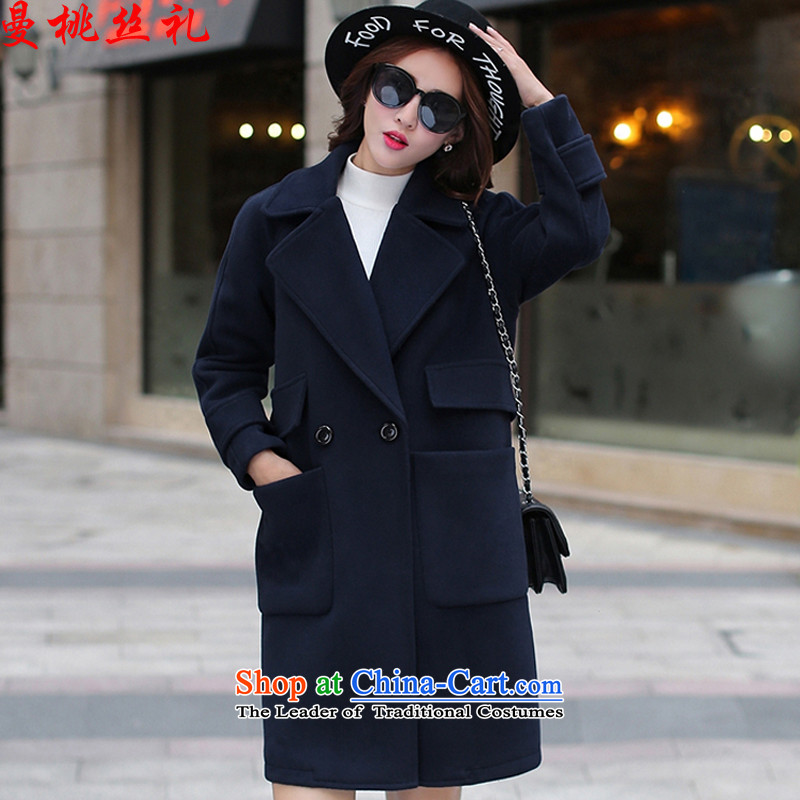 The population of the Cayman commercial gift Fall_Winter Collections gross?_ won 2015 female jacket version long hair? coats leisure temperament lapel loose wild a wool coat jacket female navy blue 1752 L