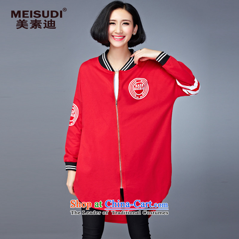 2015 Autumn and Winter Korea MEISUDI version of large numbers of ladies personality fashion, long sweater leisure loose video thin red jacket wild stamp are code _loose_