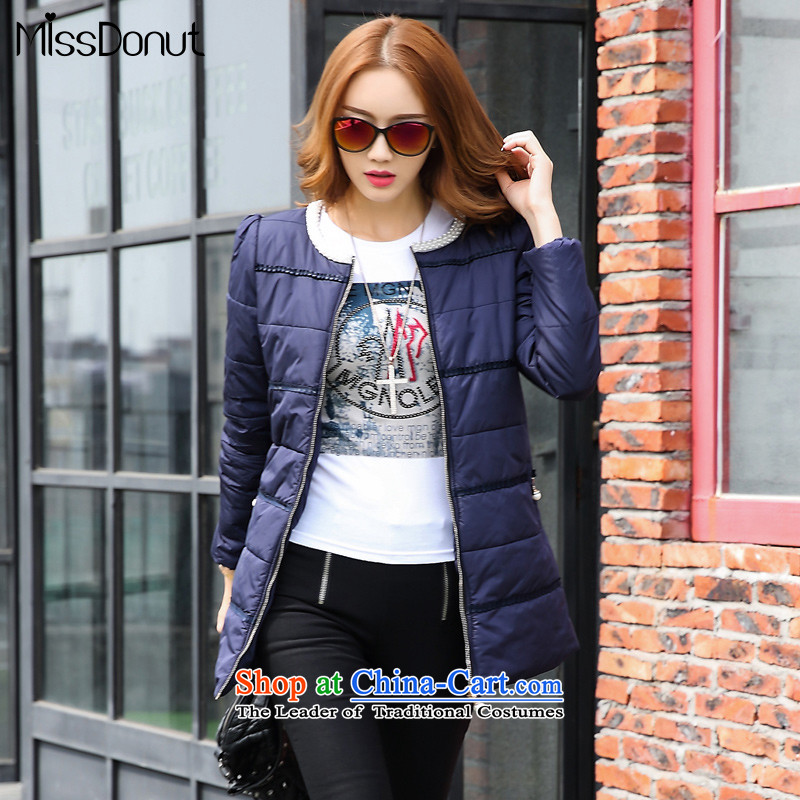 The ad to increase missdonut code women autumn and winter, cotton coat 200 mm thick sister in the catty long thin pearl collar jacket graphics LADIES CARDIGAN large blue code 4XL recommendations paras. 190-200 catty