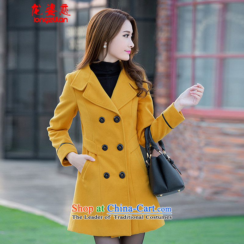 Dragon Land 2015 autumn and winter Gigi Lai new Korean girl in long hair? female suits for jacket for larger a wool coat 9168 female yellow?L