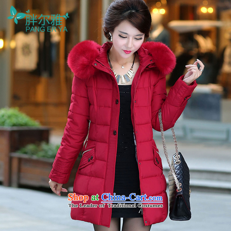 Thick Ljubljana 2015 winter new to increase women's code for warm in the Gabcikovo-Nagymaros long cotton coat large redXL