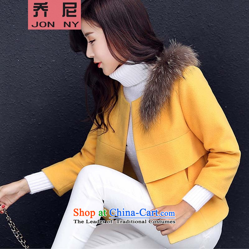Cioni gross? female short jacket, coat 2015 Korean autumn new gross for a wool coat small Heung-Sau San female yellow聽L