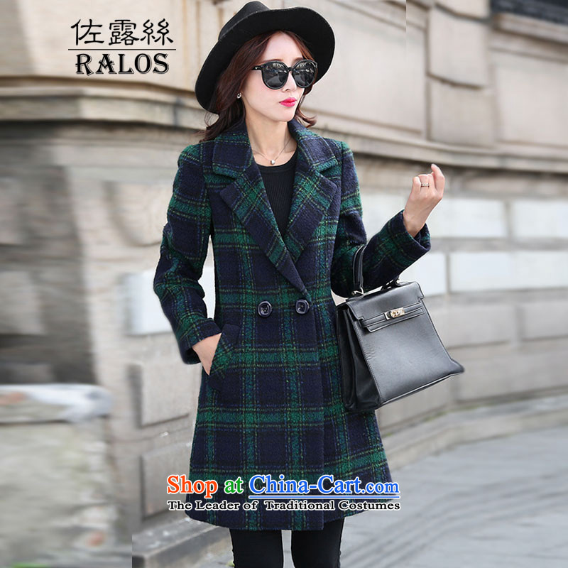 2015 Autumn and winter new ralos gross? coats that long temperament grid long-sleeved jacket is elegant gross women 622 green tartanXXL