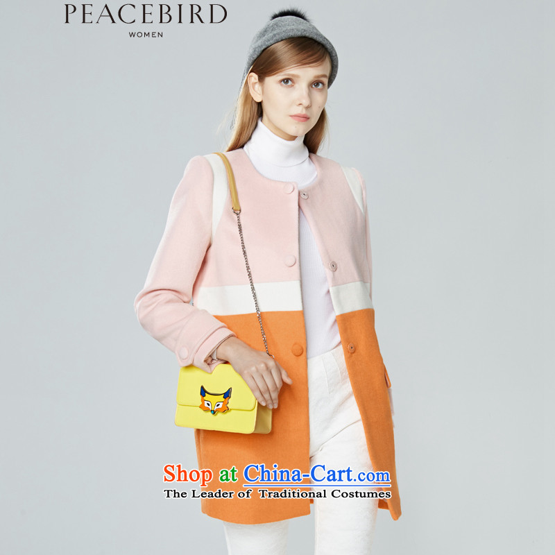 Women Peacebird 2015 winter clothing new products _CIS_ knocked color coats A5AA44212 orange燤